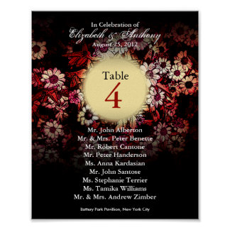 Wedding Table Seating Chart Print Red Floral
