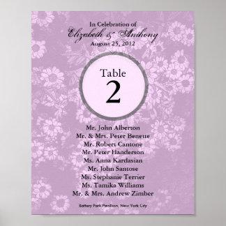 Wedding Table Seating Chart Print Tint Pink 1