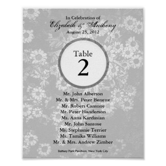 Wedding Table Seating Chart Print Tint White 4