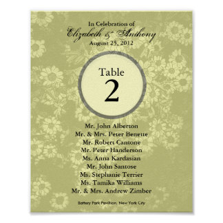 Wedding Table Seating Chart Print Tint Yellow 3