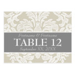Wedding Table Sign with Modern Damask Pattern Postcard
