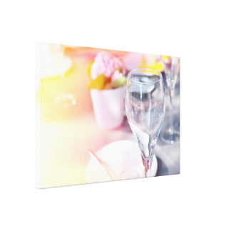 Wedding table under morning sun canvas print