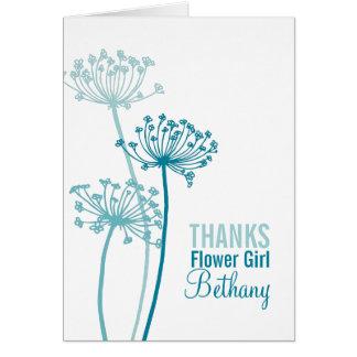 Wedding teal aqua flower girl thank you card