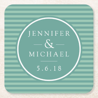 Wedding | Teal Stripes Square Paper Coaster