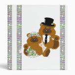 Wedding Teddy Bears on White 3 Ring Binder