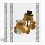 Wedding Teddy Bears on White Binder