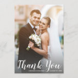"""Wedding Thank You 2 Photos Modern White Script<br><div class=""""desc"""">Send your wedding thank yous out in style with these beautiful 2-sided cards. The frontside features a large vertical photo, your names and wedding date and the backside features a smaller horizontal photo and space for your custom text below. Type your text or delete to make room for a handwritten...</div>"""