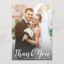 Wedding Thank You 2 Photos Modern White Script