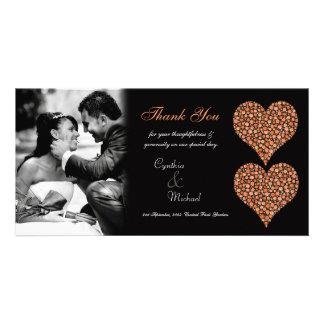 Wedding Thank You 2 Rose Hearts Photo Card