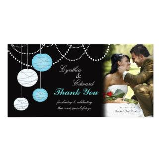 Wedding Thank You Aqua Blue Lanterns Photo Card
