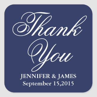 Wedding Thank You Blue and White Script Sticker