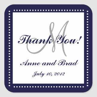 Wedding Thank You Blue Monogram Names Sticker