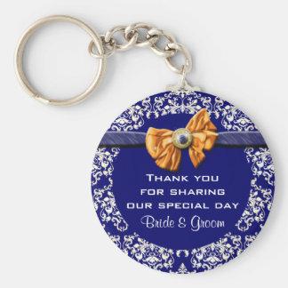 "Wedding ""thank you"" blue white damask basic round button keychain"