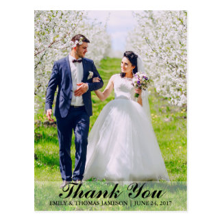 Wedding Thank You Bride & Groom Photo Postcard B L