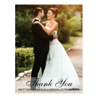 Wedding Thank You Bride & Groom Photo Postcard L