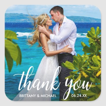 Bride Themed Wedding Thank You Bride Groom Photo Square Sticker