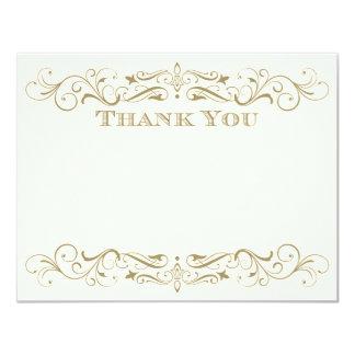 Wedding Thank You Card   Antique Gold Flourish