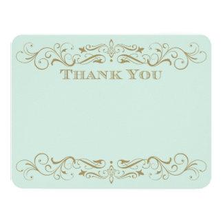 "Wedding Thank You Card   Antique Gold Flourish 4.25"" X 5.5"" Invitation Card"