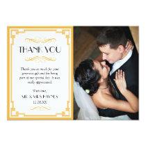 Wedding Thank You Card , Art Deco Flat Card