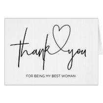 Wedding Thank You Card Best Woman Card