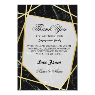 Wedding Thank You Card Black Marble Gold