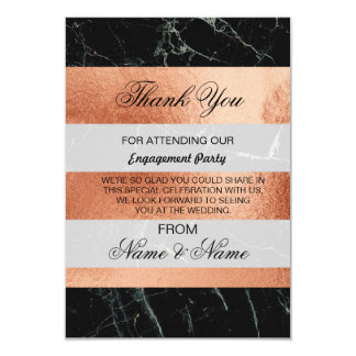Wedding Thank You Card Black Marble Rose Gold