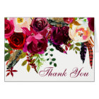 Wedding Thank You Card - Burgundy Floral, Feathers