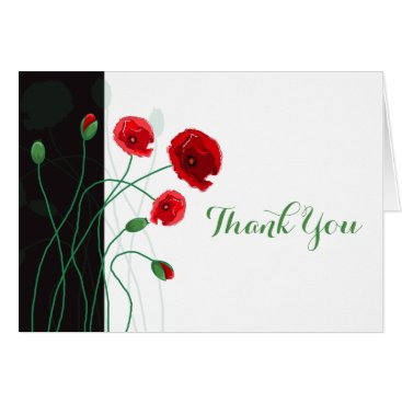 Wedding Thank You Card | Red Poppies