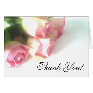 Wedding Thank you card with pink rose flowers