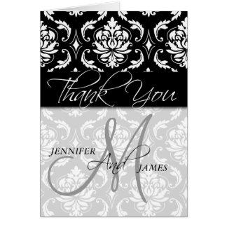 Wedding Thank You Cards Black Damask Monogram