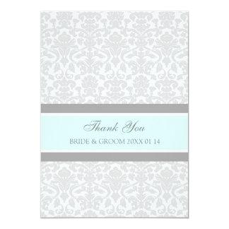 Wedding Thank You Cards Blue Gray Damask
