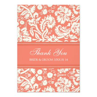 Wedding Thank You Cards Coral Damask