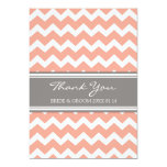 Wedding Thank You Cards Coral Gray Chevron