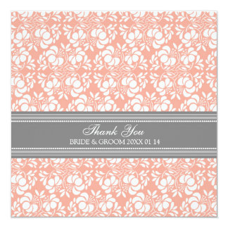 Wedding Thank You Cards Coral Gray Damask