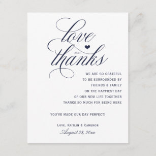 Wedding Thank You Cards For Tables Navy Blue