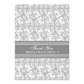 Wedding Thank You Cards Gray Damask