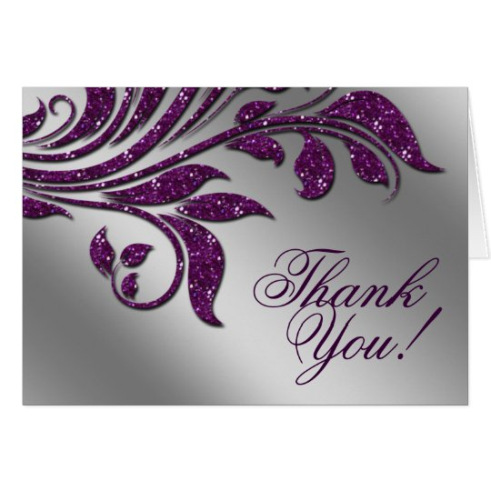 Wedding Thank You Cards Leaf Sparkle Purple