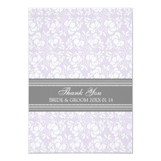 Wedding Thank You Cards Lilac Gray Damask