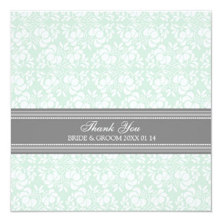Wedding Thank You Cards Mint Gray Damask