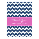 Wedding Thank You Cards Pink Blue Chevron