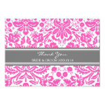 Wedding Thank You Cards Pink Gray Damask