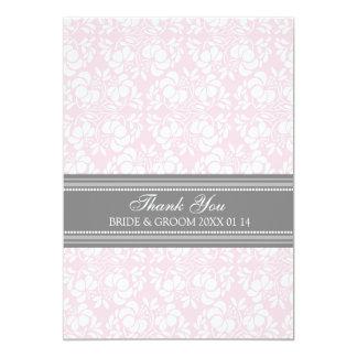 Wedding Thank You Cards Pink Gray Damask