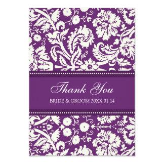 Wedding Thank You Cards Plum Damask