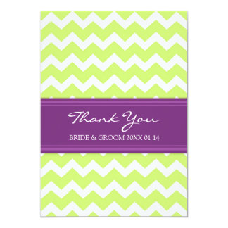Wedding Thank You Cards Plum Lime Chevron