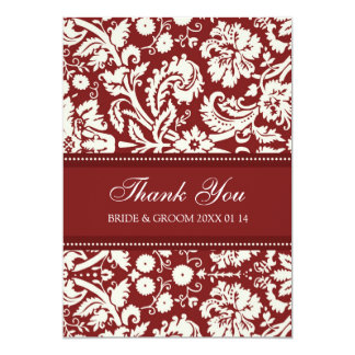 Wedding Thank You Cards Red Damask