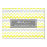 Wedding Thank You Cards Yellow Gray Chevron