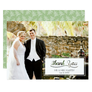 Wedding Thank You Cut Out Text Horizontal Photo Card