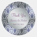 Wedding Thank you damask dark blue and silver Round Stickers