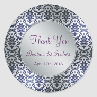 Wedding Thank you damask dark blue and silver Round Stickers