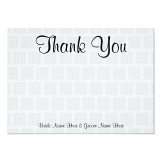 """Wedding Thank You Design Pale Gray with Squares. 4.5"""" X 6.25"""" Invitation Card"""